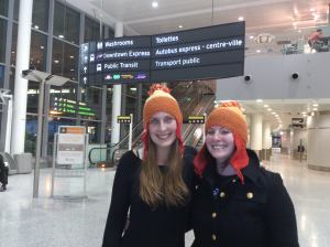 anne and mj at airport in Jane hats