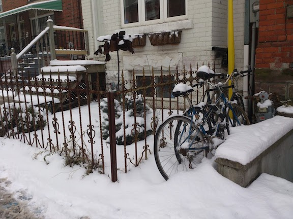 bicycles in snow Toronto