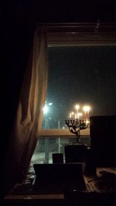 view from Tovahs window with candles