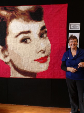 an amazing quilt of Audrey Hepburn