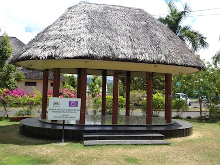 A typical modern fale at the Tourist Information Centre