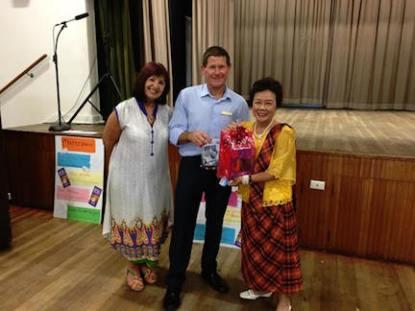 Gabrielle, Cr Geoff Gledhill and lucky prizewinner