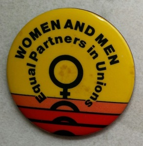 women and men equal partners in union badge