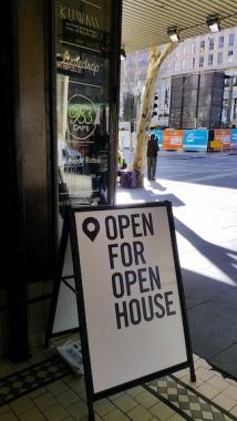 nicholas bldg open house 2017 sign outside