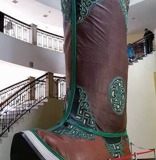 a giant boot in traditional style