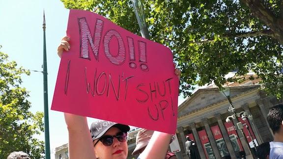 refusing to shut up sign