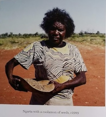 Ngarta with coolamon of seeds 1989
