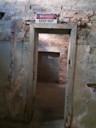 doorway with keep out sign