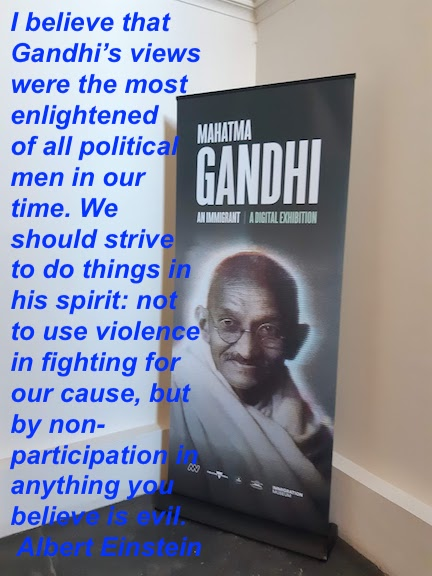 gandhi a digital exhibition poster Einstein quote