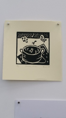 my linocut displayed