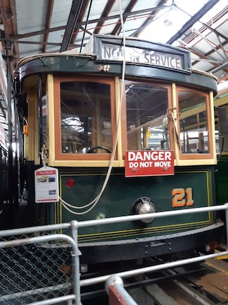 close up front of tram no 21
