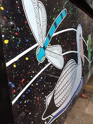 close up of decorated aboriginal tram
