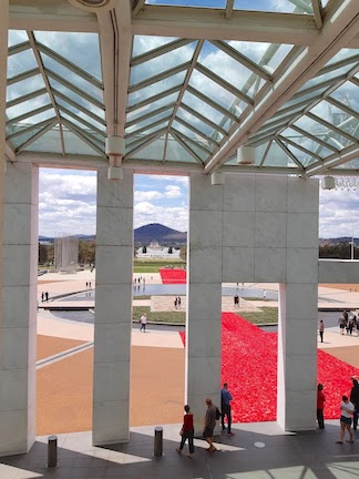 poppies utside parlt from balcony