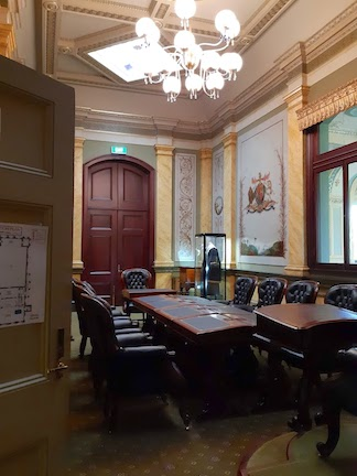 view from doorway council chamber