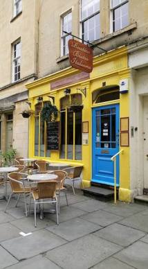 brightly painted italian bistro