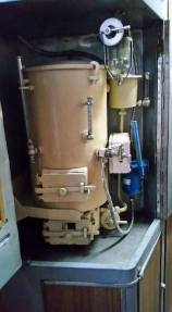 close up of train boiler