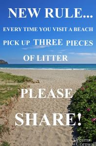 picking up rubbish from beach sign
