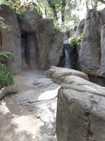 waterfall and rock art