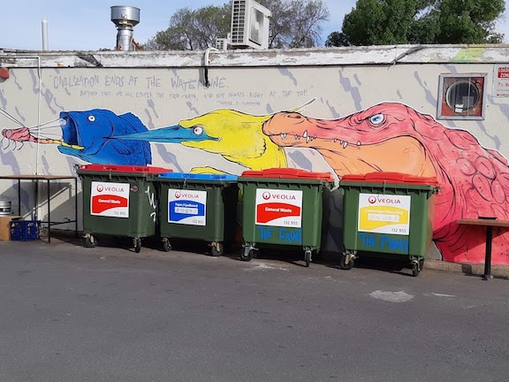 a to the point mural and row of waste disposal bins Canberra