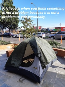 protest about homeless