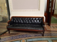 leather sofa in entrance hall
