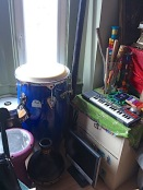 band equipment stored