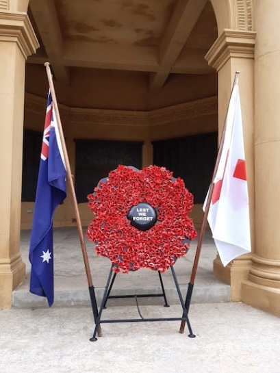 soldiers memorial poppy display